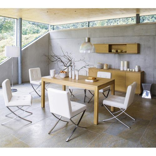 Chaise blanche design kyoto table buffet et tag re - Table salon maison du monde ...