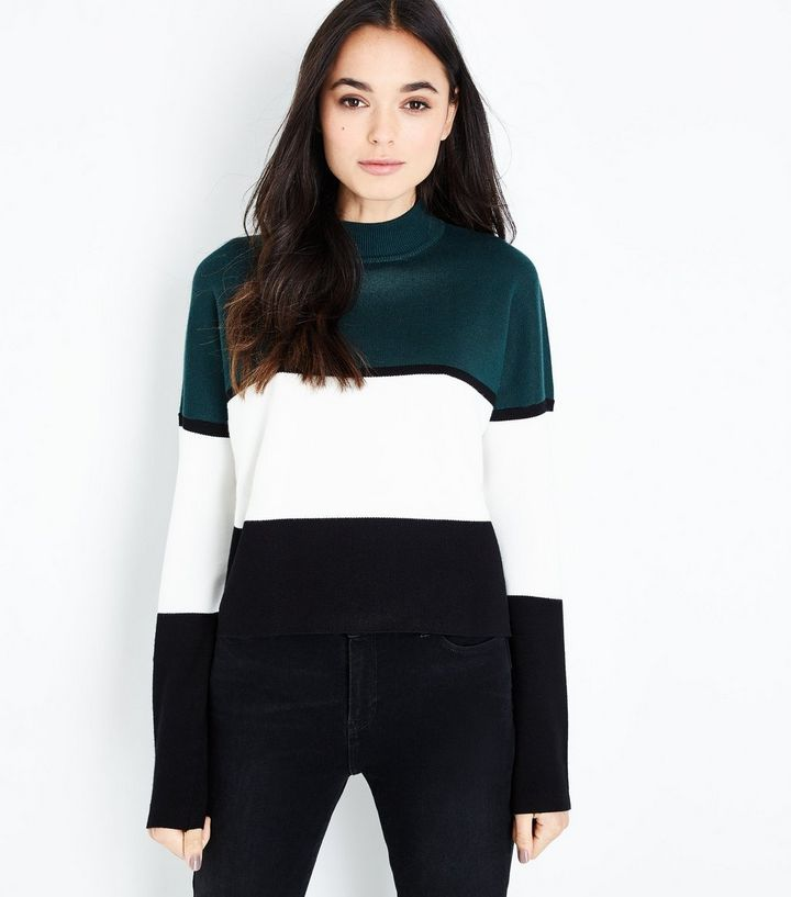 choose genuine world-wide free shipping most reliable Dark Green Colour Block Jumper | Fashion in 2019 | Green ...