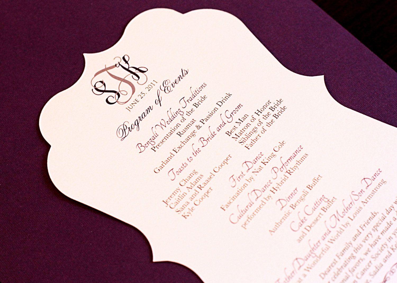 Bracket Shaped Program Custom Listing for Loren   Best Wedding ...