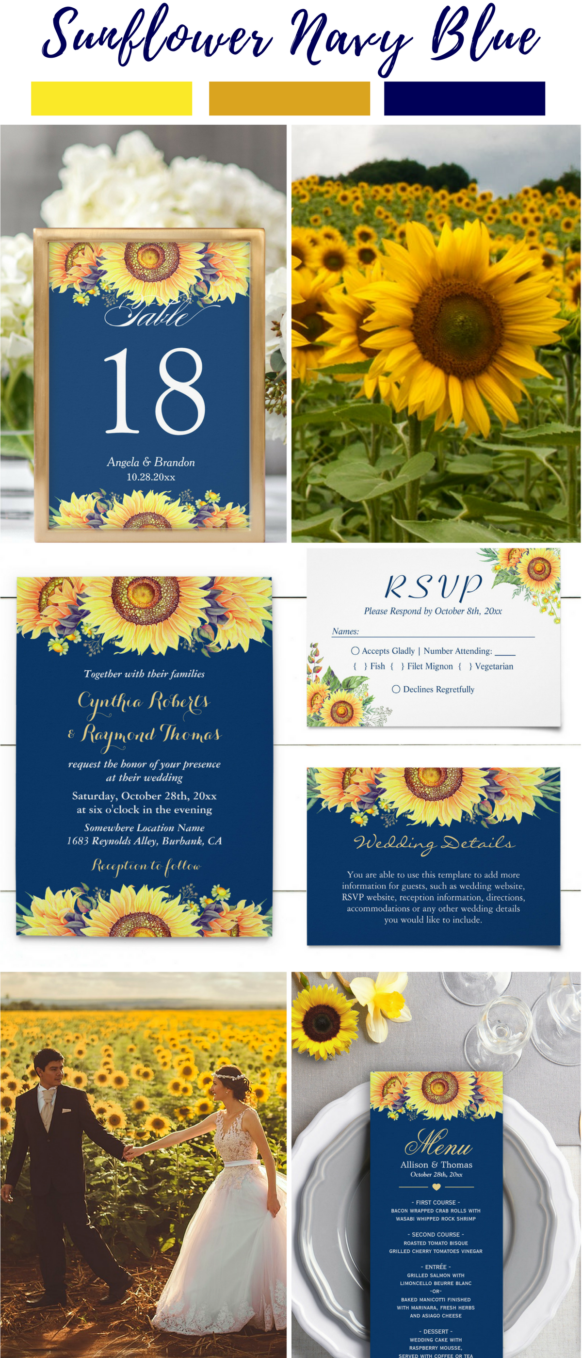 sunflower wedding invitations printable%0A Royal Blue Sunflower Wedding Invitation Royal Blue and Yellow Floral    Lemon leaves  Sunflower wedding invitations and Sunflower weddings