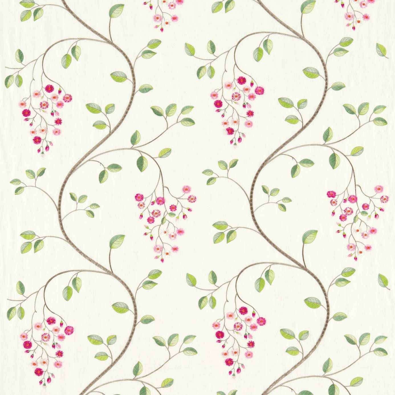 Sanderson Asami Embroidery Fabric Fuchsia Green Product
