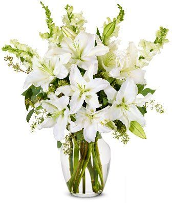 Flowers Stunning White Lilly Arrangement Free Vase Included