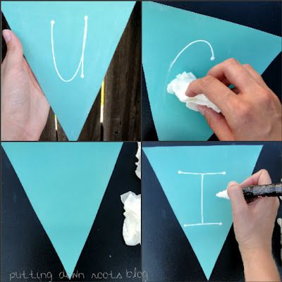 Handmade Personalised Chalk Paint Wooden Bunting Mixed Shape Flags