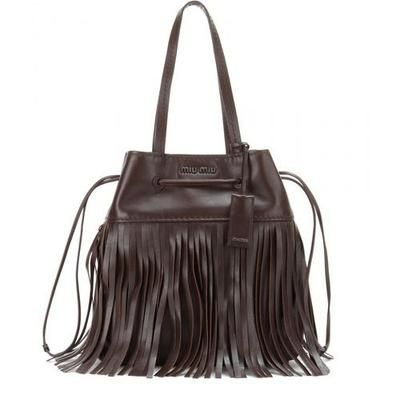 Fringed leather bucket bag Miu Miu NkoS9XZk