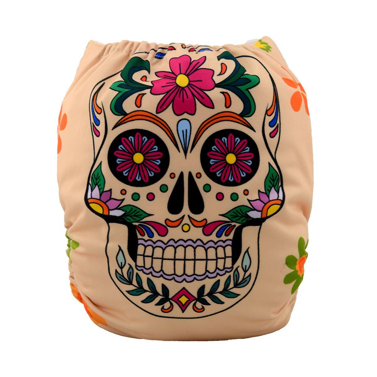 JinoBaby Washable Diaper with 1 Bamboo Insert - Fashion Skull