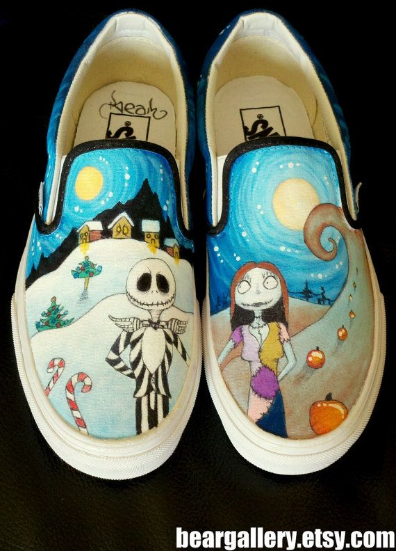 Nightmare Before Christmas Vans hand painted Vans series