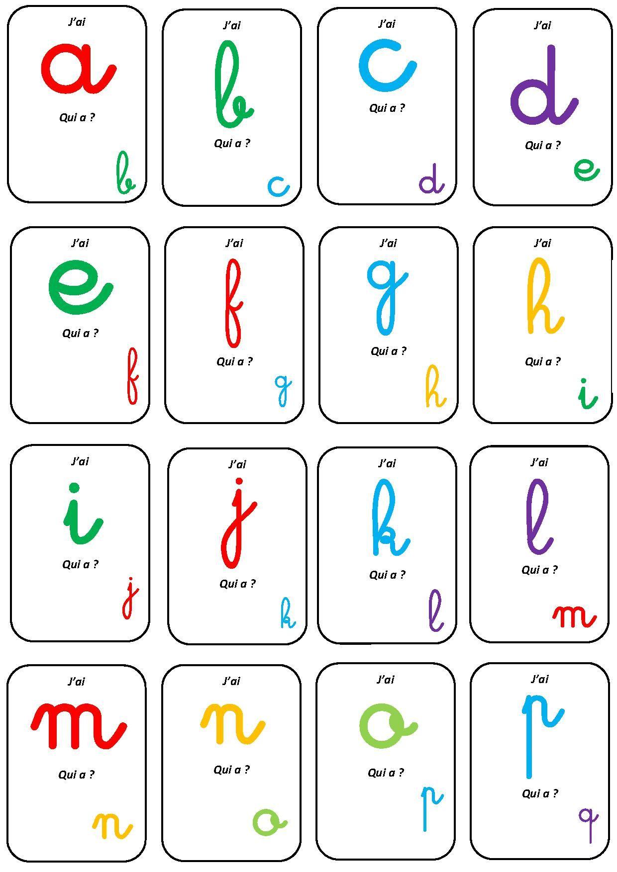 Jeu j 39 ai qui a ecole pinterest la maternelle - Alphabet francais maternelle ...