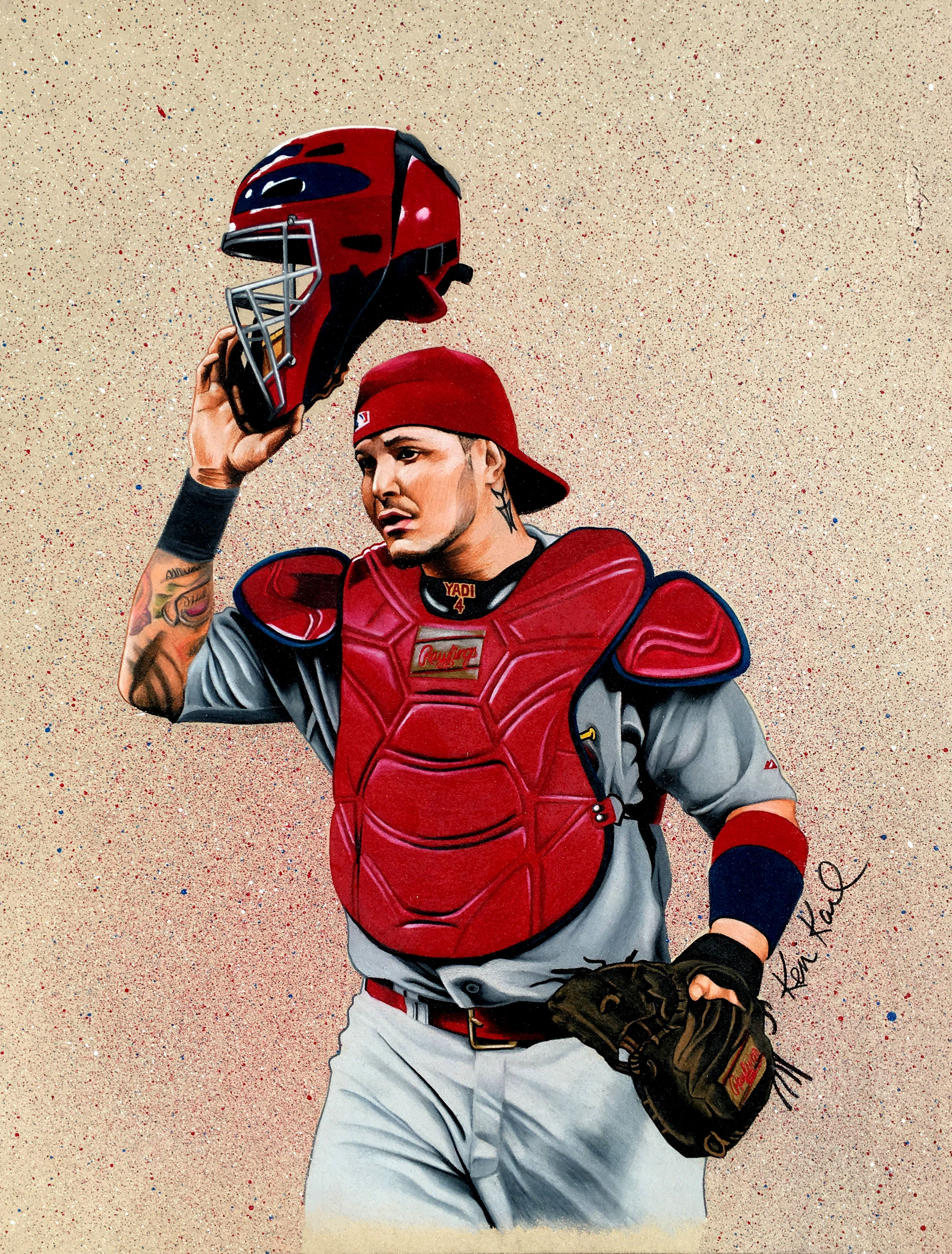 Yadi Molina colored pencil drawing by Ken Karl Sports