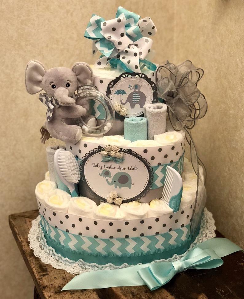 4 Tier Teal Elephant Diaper Cake Baby Boy Diaper Cake Baby Girl Diaper Cake Baby Shower Centerpiece In 2020 Baby Girl Diaper Cake Baby Diaper Cake Boy Baby Boy Diapers