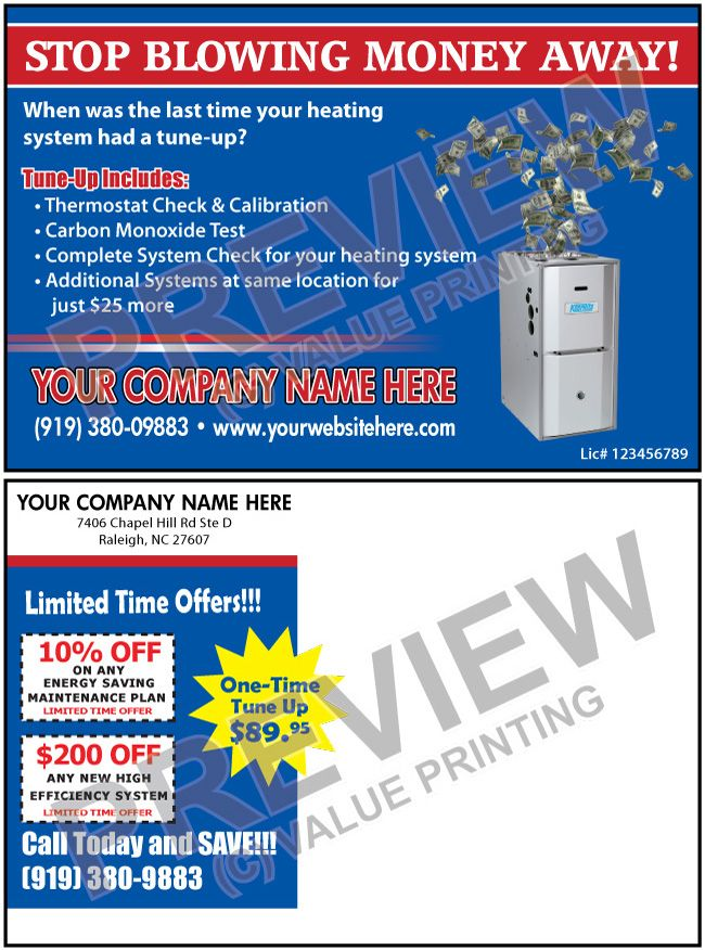 Blowing Money Gets The Message Across Fast Hvac Heating System Tune Up Sales Postcard Value Printing Hvac Postcard Hvac Company Hvac Heating Systems