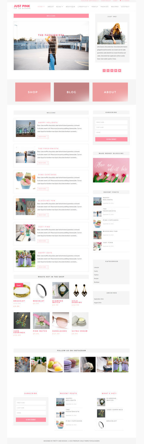 Just Pink - A Divi custom designed responsive WordPress theme for ...
