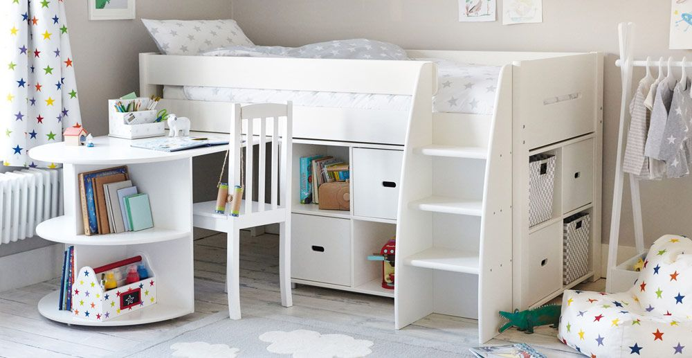 Tate Mid Sleeper Bed Set Ivory In 2020 Mid Sleeper Bed Mid