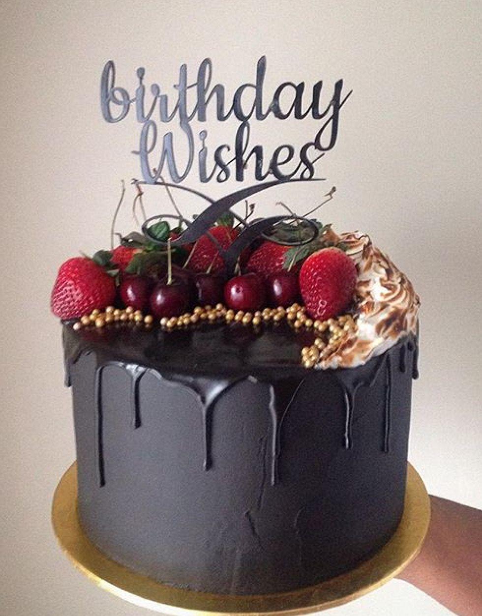 Black On Black Fruit Drip Cake Cakes In 2019 Birthday