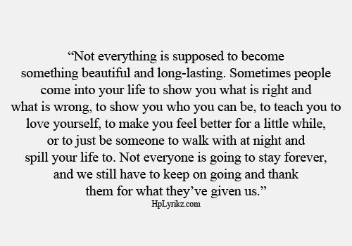 Not Everything Is Supposed To Become Something Beautiful And Long