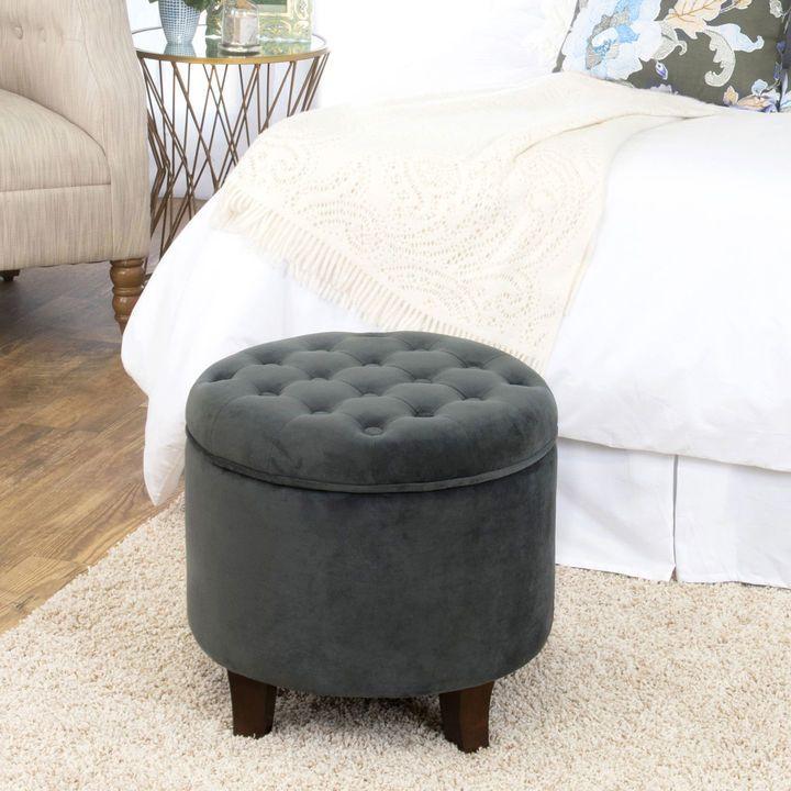 Excellent Gray Velvet Round Storage Ottoman Products In 2019 Round Ibusinesslaw Wood Chair Design Ideas Ibusinesslaworg