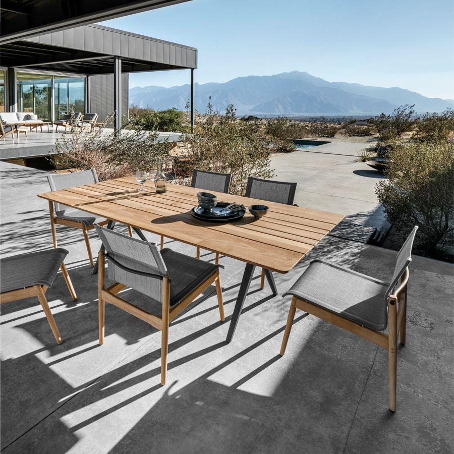 Gloster Split 6 Seat Rectangular Dining Set Outdoor Furniture Design Modern Patio Furniture Rectangular Dining Set