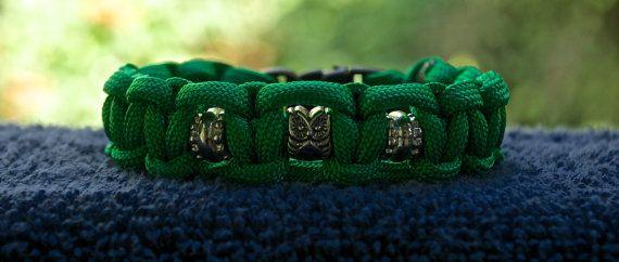 Green Paracord Bracelet With Metal Owl Bead  Size by RainyDayzArt, $12.50 https://www.etsy.com/listing/190915512/green-paracord-bracelet-with-metal-owl?ref=listing-shop-header-3