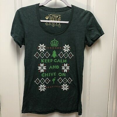 CHIVE Fitted Chivery Christmas Tree Shirt Keep Calm Chive On - Womens Size Small #fashion #clothing #shoes #accessories #women #womensclothing (ebay link)