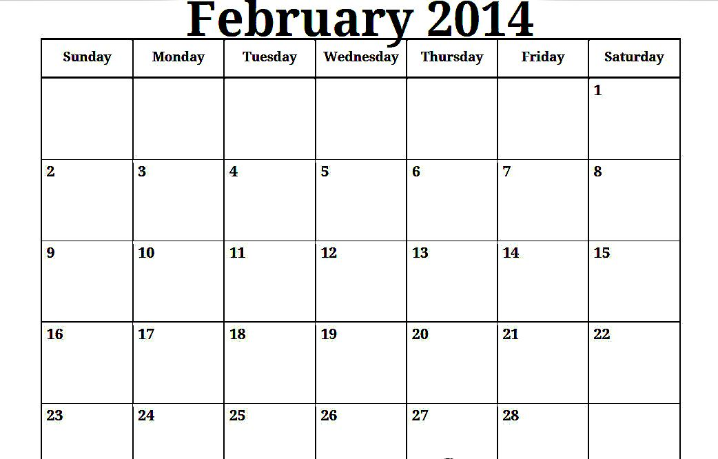 free print calendar february 2014 | february 2014 calendar photo and ...