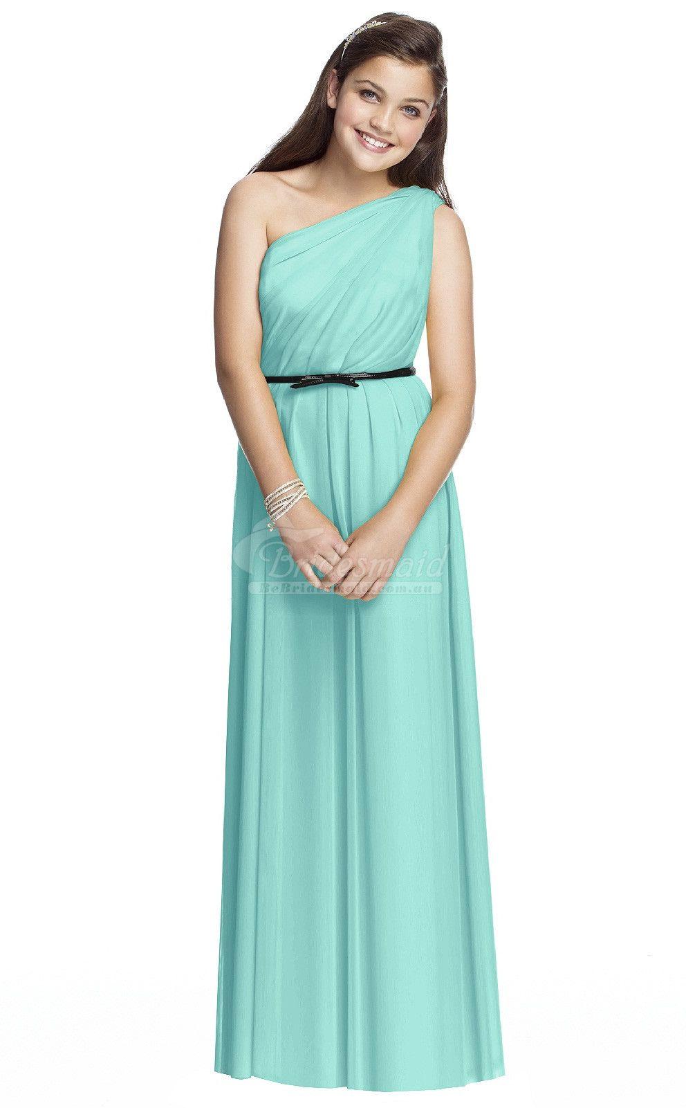 Simple a line sleeveless ink blue junior bridesmaid dressjbdbb