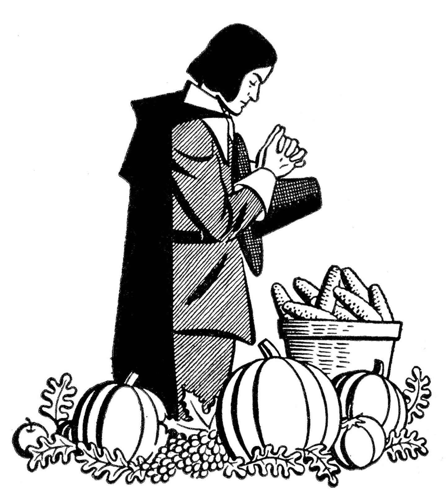 Vintage Thanksgiving Clip Art Pilgrim Praying The Graphics Fairy Thanksgiving Clip Art Clip Art Free Clip Art