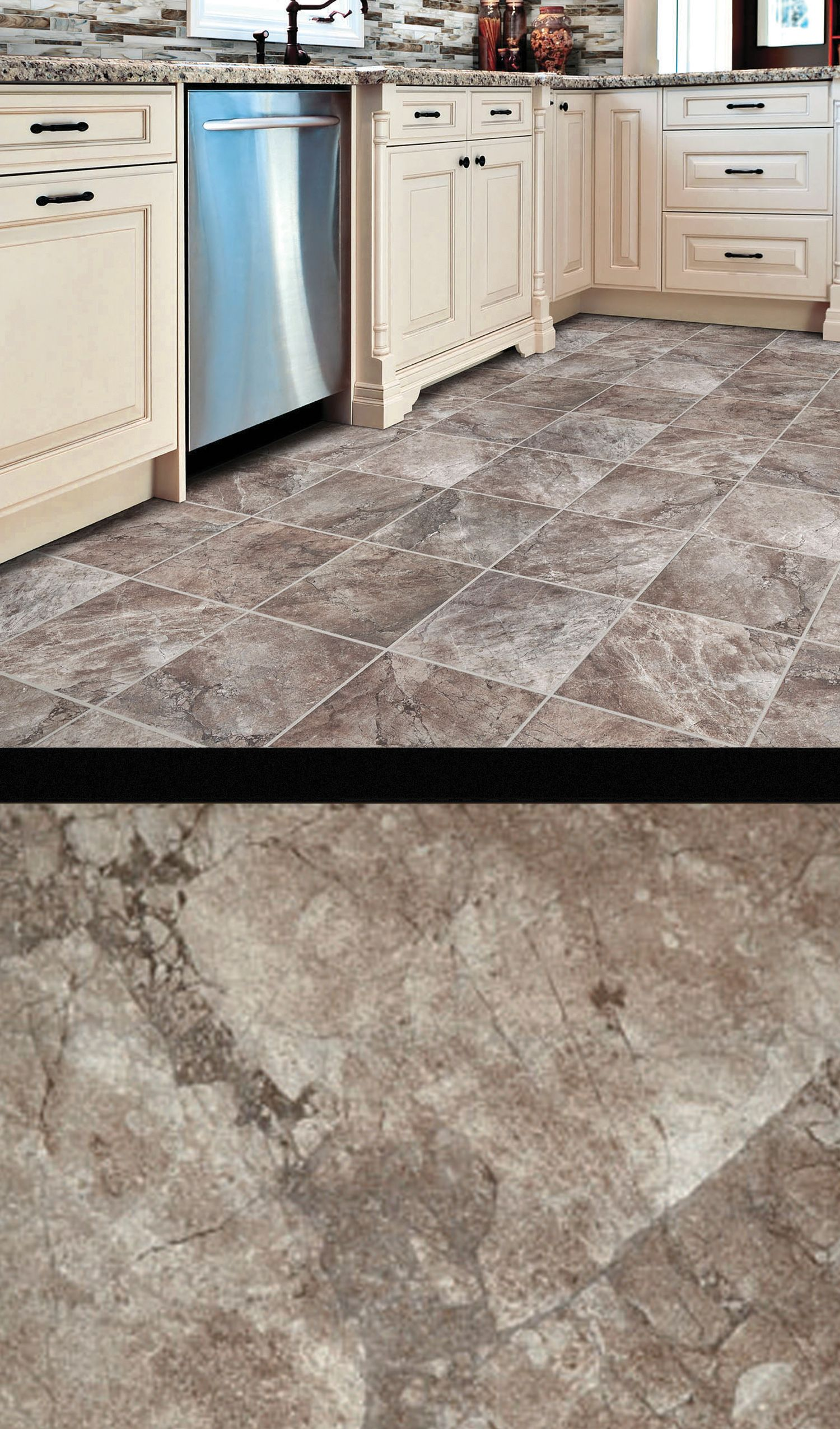 Rapture Glazed Porcelain Tile Gives Your Kitchen A Bold Marble Look While Being Durable And Easy To Clean