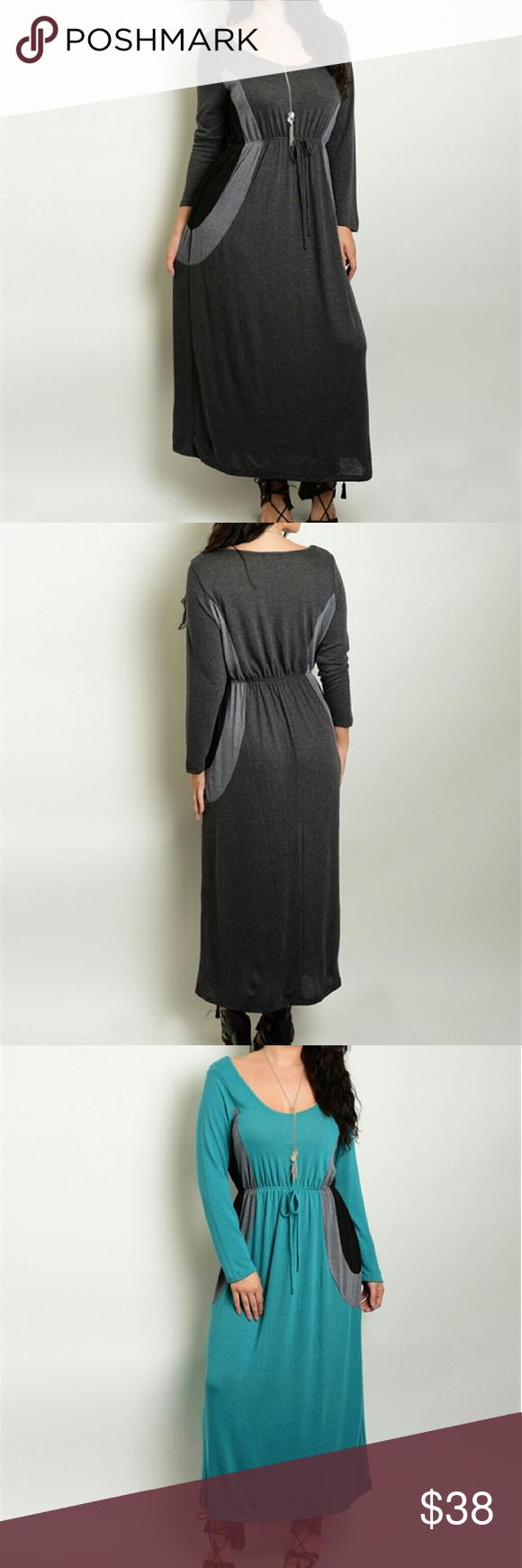 Long colorblock maxi dress new long color block maxi long sleeve