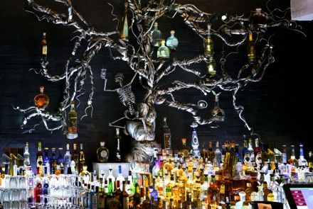 This place is amazing....like a Mexican gothic hotel...how awesome is this killer bottle display at the bar?...and the wine rack waterfall was soooo cool...  The food rocked and it's worth checking out if you're ever in Laguna/Newport Beach....