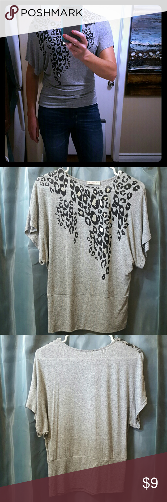 NWOT Black & Grey Spotted Top Never been worn! This cute top has wide sleeves and a slight cinch at the waist. There is a shiny silver fabric  in the center of some black spots (see pic for close up pic). a'gaci Tops