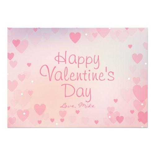 Pink Hearts Happy Valentine\'s Day Card for Her   Valentine\' Day ...