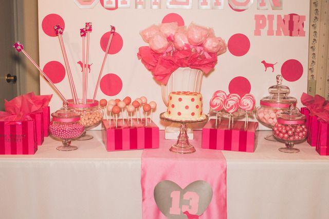 Victoria S Secret Pink Birthday Party Ideas Photo 2 Of 11 Pink Birthday Party Pink Party Theme 13th Birthday Parties
