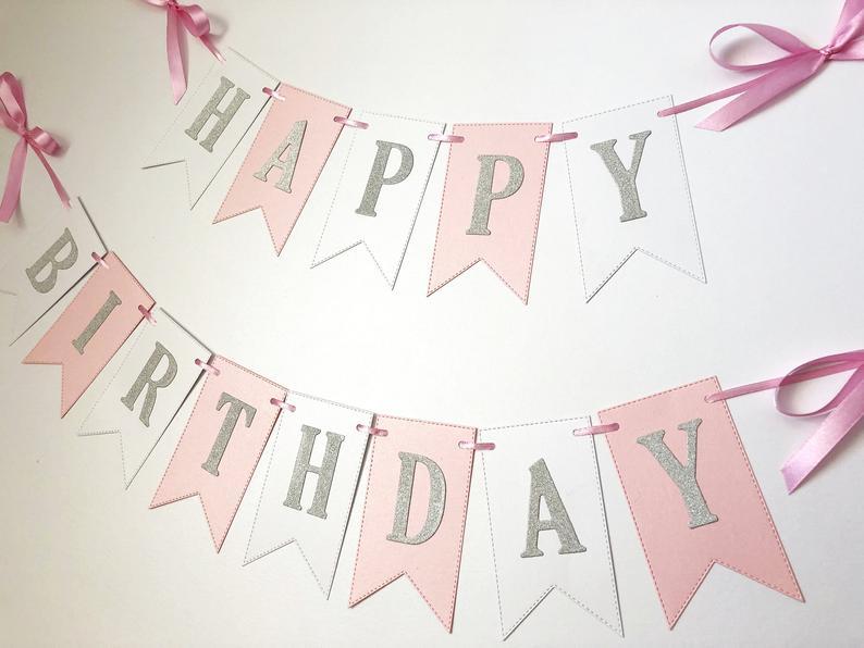 Customized Happy Birthday Banner Winterwonderlandthemed party BirthdayBaptism