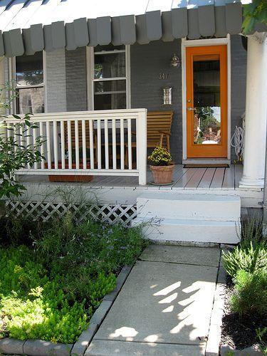 dark gray siding calypso orange door house colors pinterest