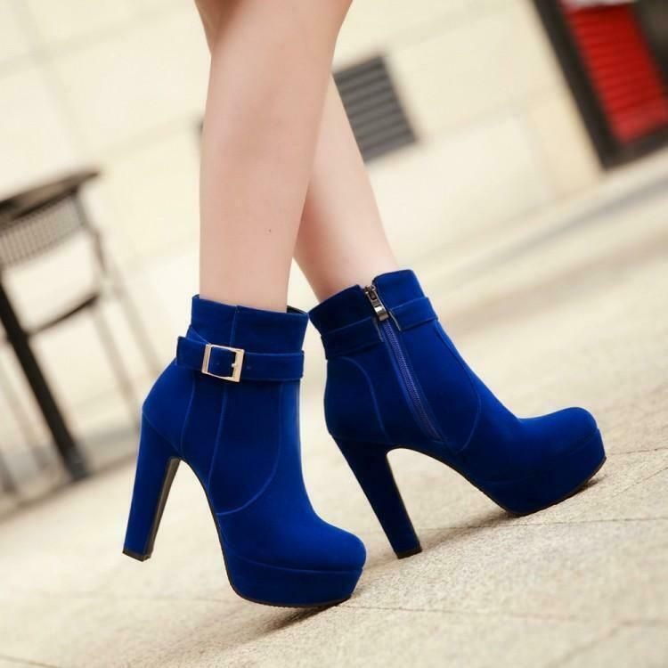 Womens Side Zipper Faux Suede Chunky High Heel Ankle Booties Boot Shoes B
