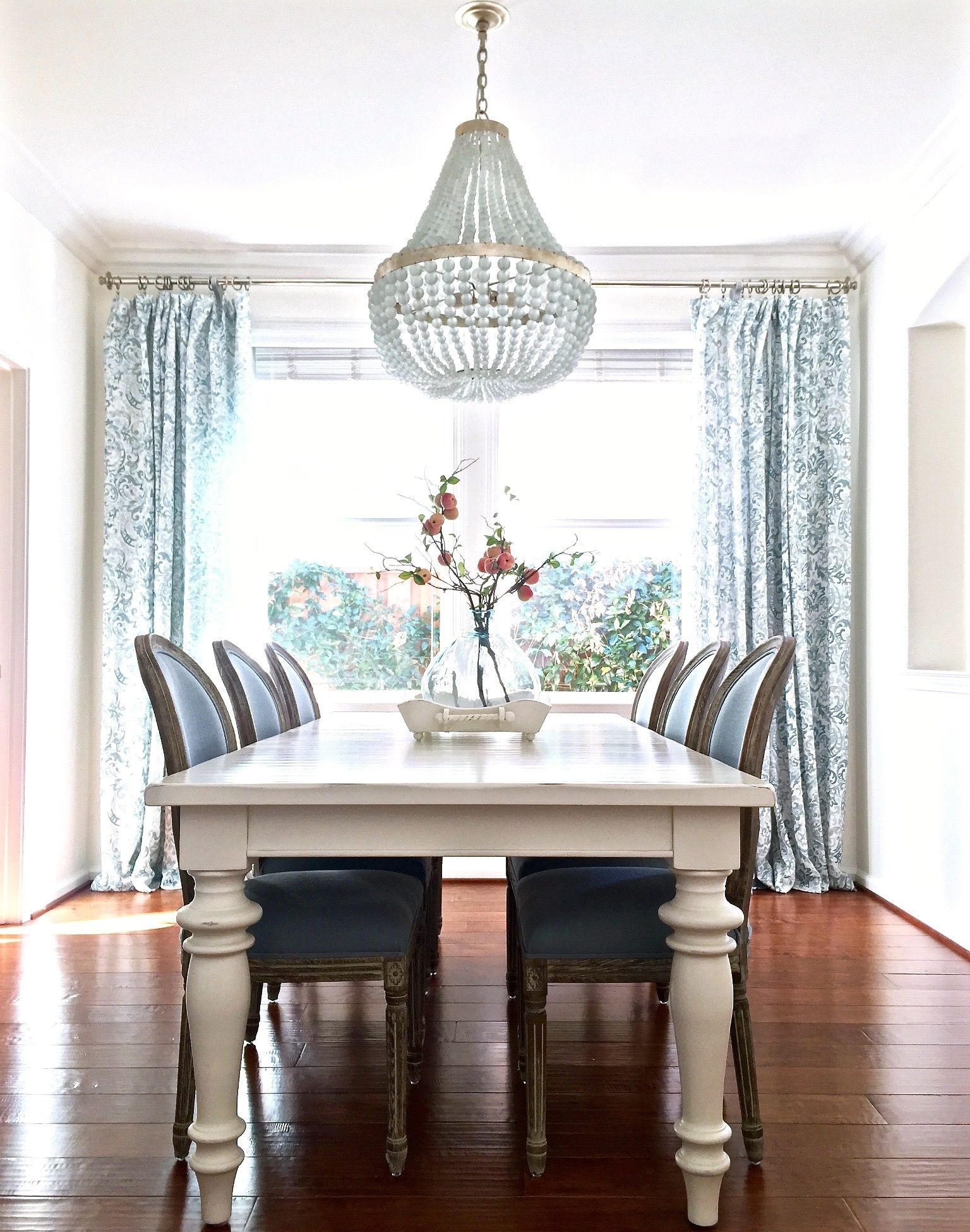 Blue and white dining room with Edisto white beaded chandelier