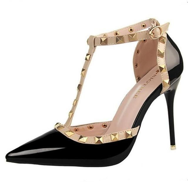 9fd3b571687e HOT Pumps 2017 Women s shoes Summer style fashion female sandals rivet  Metal decoration pu leather style