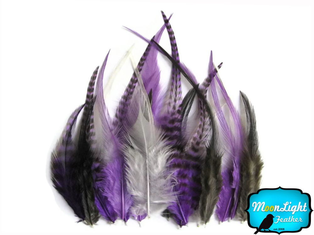 SHORT SOLID PURPLE Rooster Hackle Hair Extension Feathers 1 Dozen
