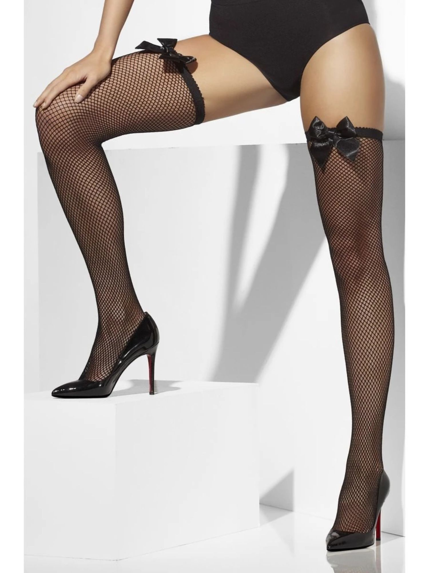 Womens Ladies Black Fishnet Thigh High Stockings Net Bow Fancy Dress Accessory