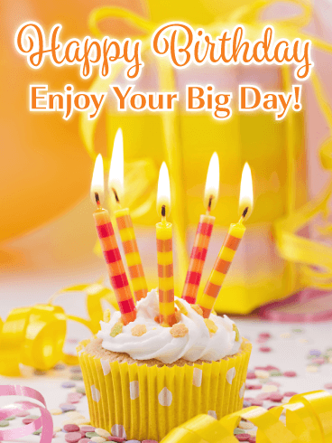 Fancy Yellow Cupcake Happy Birthday Card Give A Bright And Happy