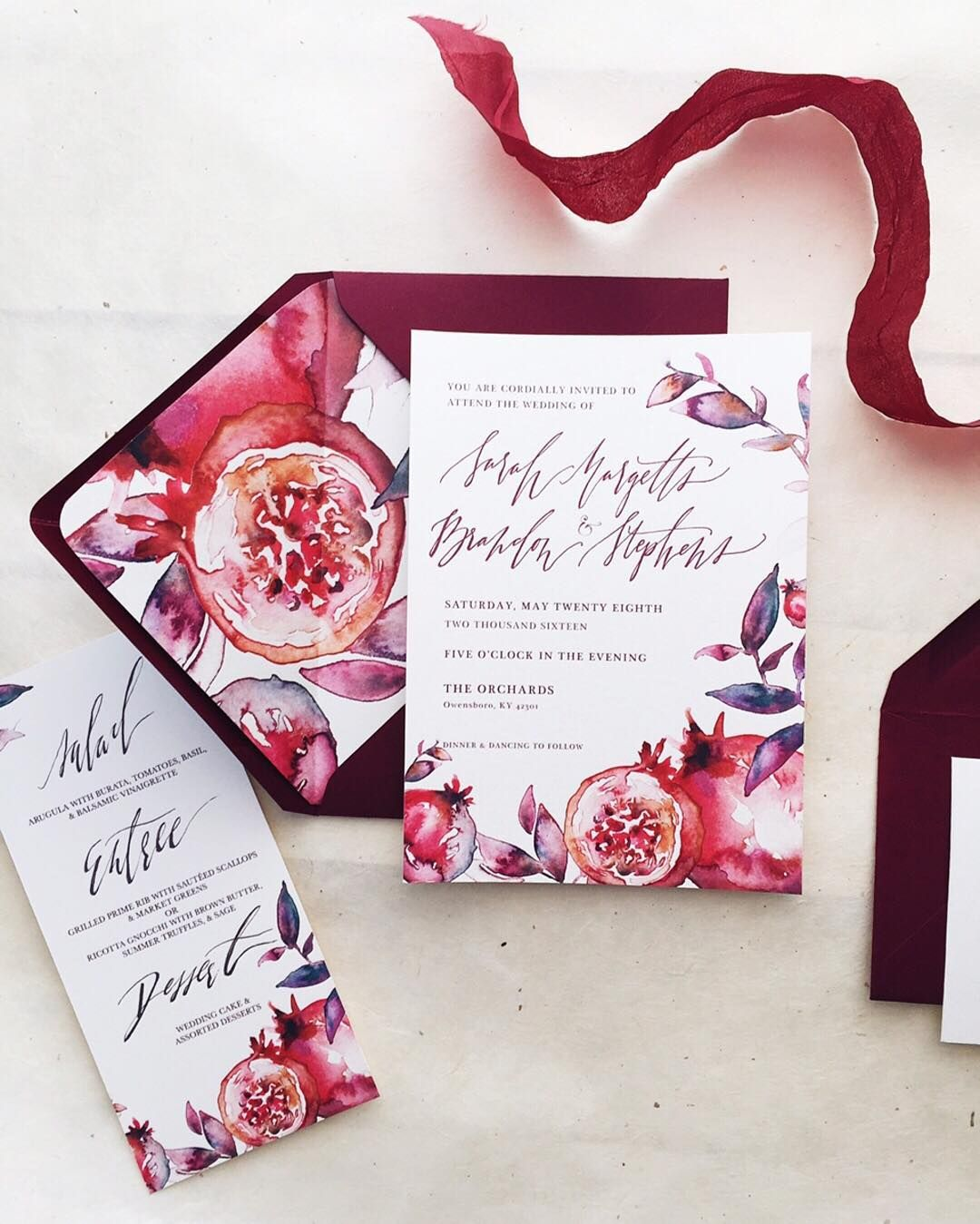 Pomegranate Wedding Invitations, Hand Painted, Embellished in ...