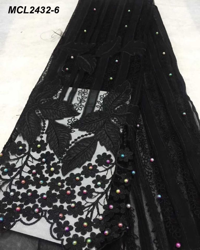 Black beaded fabric with sequins Embroidered tulle black bridal lace fabric Wedding dress lace bohemian mesh