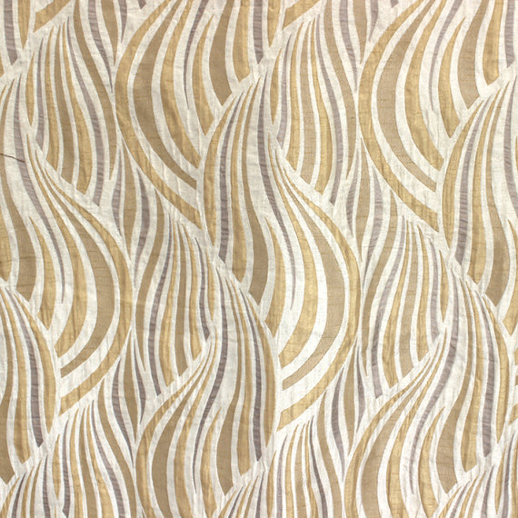 Beige Amp Gold Tides Poly Jacquard Weave Fabric By The Yard