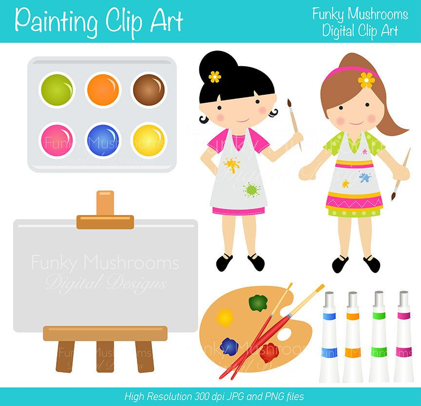 Digital+Clipart++Painter+Girls+for+Scrapbooking+by+funkymushrooms,+€2.80