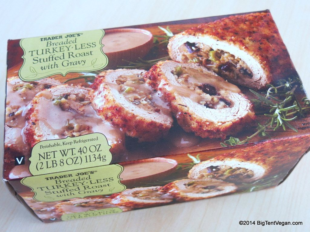 Breaded Turkey Less Stuffed Roast With Gravy Vegan Traderjoes Vegan Turkey Trader Joes Vegan Holiday Roasts
