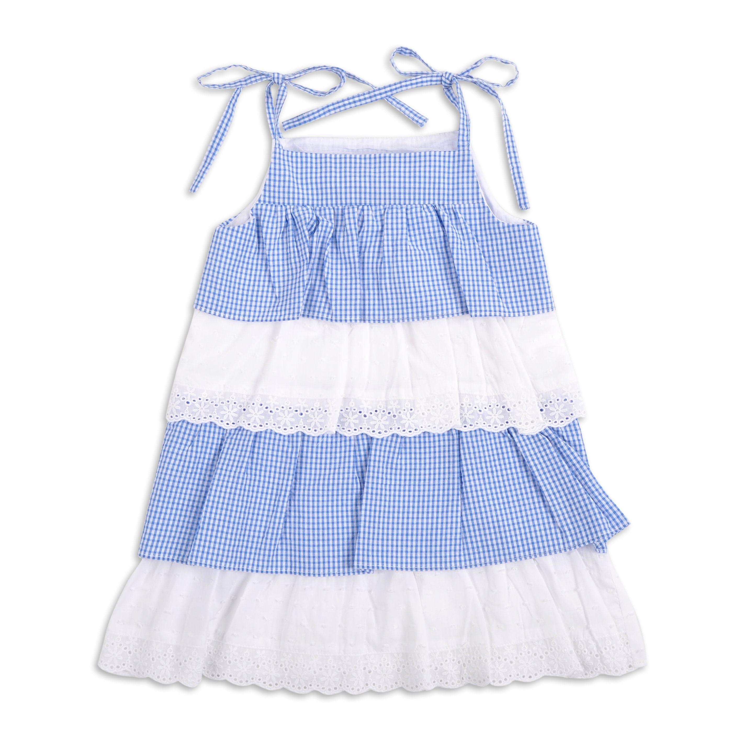 78ebf25c1 Vestido EPK para niña de capas color azul y tiras bordadas color ...