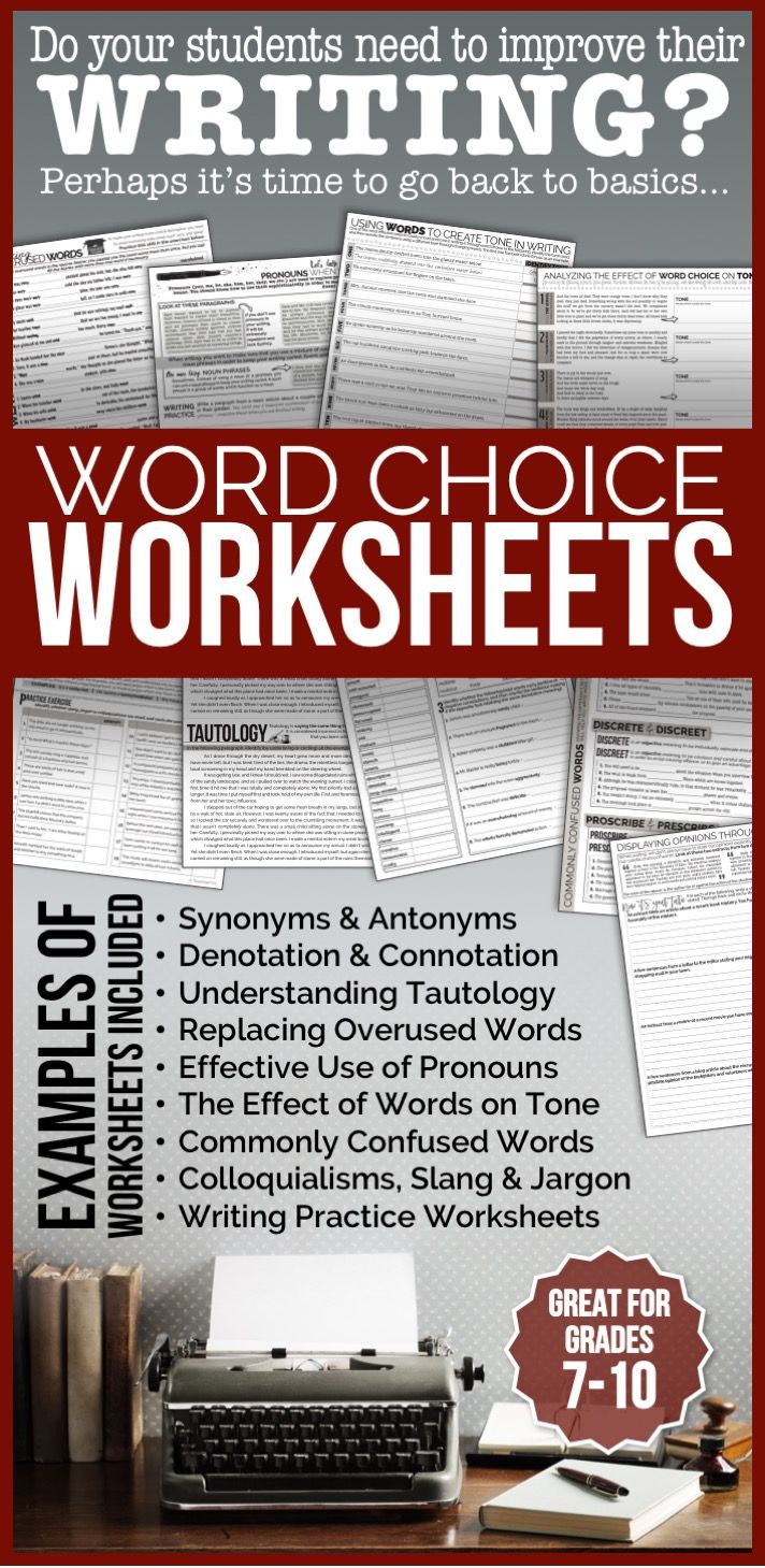WORD CHOICE Worksheets: Tools for Teaching Writing | High School ...