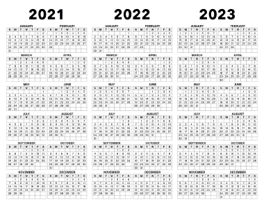 Download This 3 Year Calendar From 2021 To 2023 And Enjoy Having A Split View Of A Three Year Calendar With The Years Listed Calendar Print Calendar Lettering