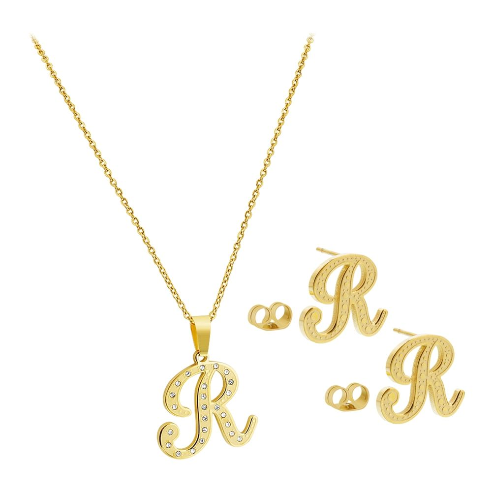 Stainless Steel Gold Tone R Initial Earrings Cz Pendant Chain Necklace
