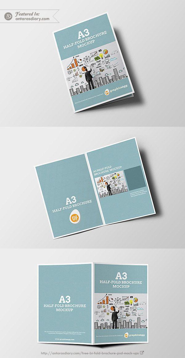 half fold brochure mockup free psd mockups pinterest mockup