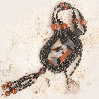 Agate Drusy Bead Embroidered Gemstone Crystal Necklace Copper Black | ThaddeusRose - Jewelry on ArtFire